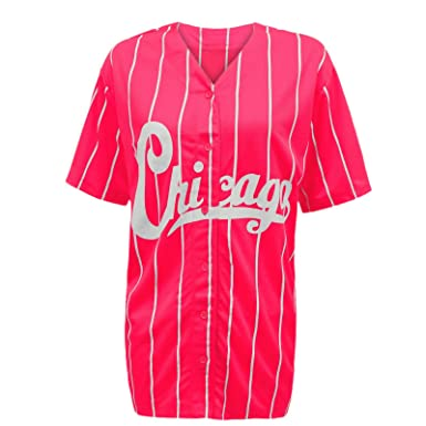 4e9985dd3 Image Unavailable. Image not available for. Colour: NEW WOMENS LADIES  CHICAGO VARSITY STRIPES AMERICAN BASEBALL JERSEY ...