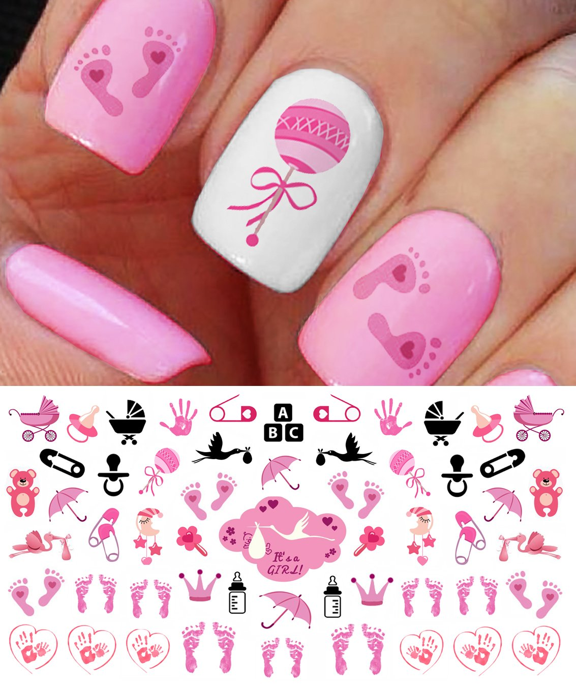 Nail Art Decals - Footprints, Strollers & More! Great Baby Shower Gift!:  Beauty - Amazon.com: