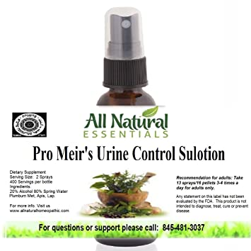 Pro Meir's Urine Control Sulotion 1oz Homeopathic Remedy, Bedwetting,  Overactive Bladder Control, Stops