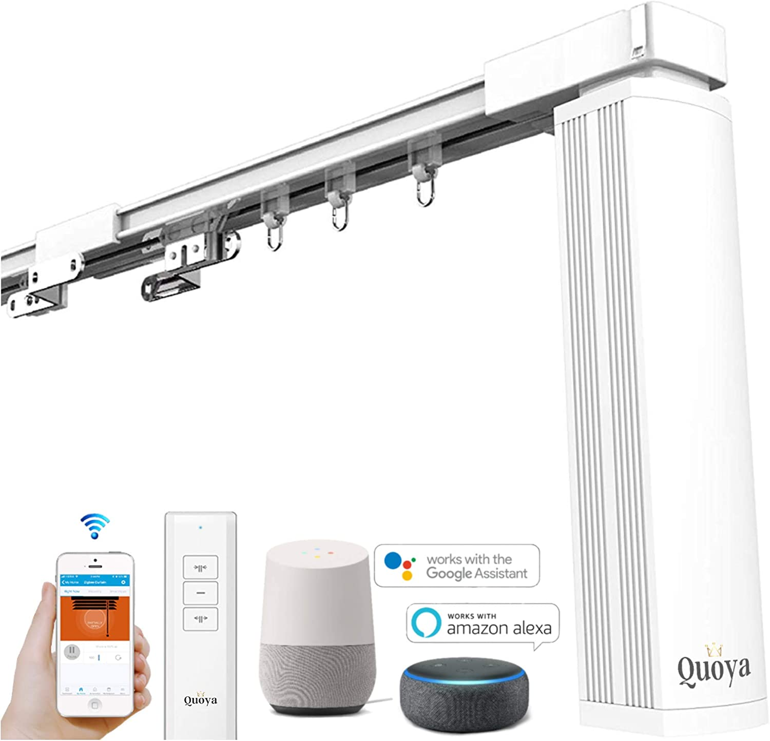 Quoya Smart Curtains System, Electric Curtain Track with Automated Rail?Motorized and Adjustable Tracks/Rod/Pole (up to 5 metres / 196 inches)? WiFi Motor Compatible with Alexa
