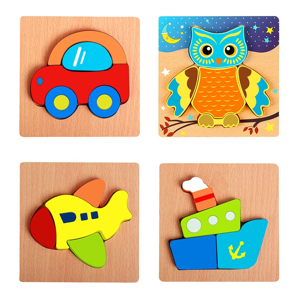 Wooden Puzzle for Children, Vehicle Mini Chunky Wooden Puzzle Bundle for Toddlers, Preschool Age Kids with Easy-Hold Colorful Solid Wood Pieces (Vehicle)