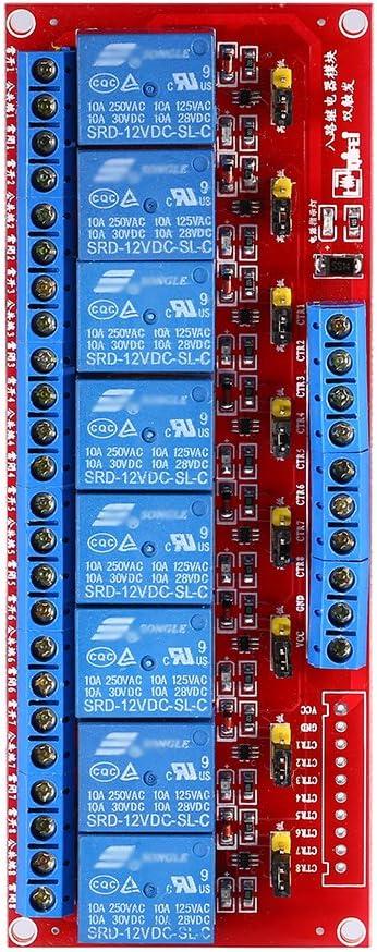 Módulo de relé de disparador doble, placa de módulo de interruptor de alimentación de relé DC 12V de 8 canales con optoacoplador Disparador de alto nivel bajo