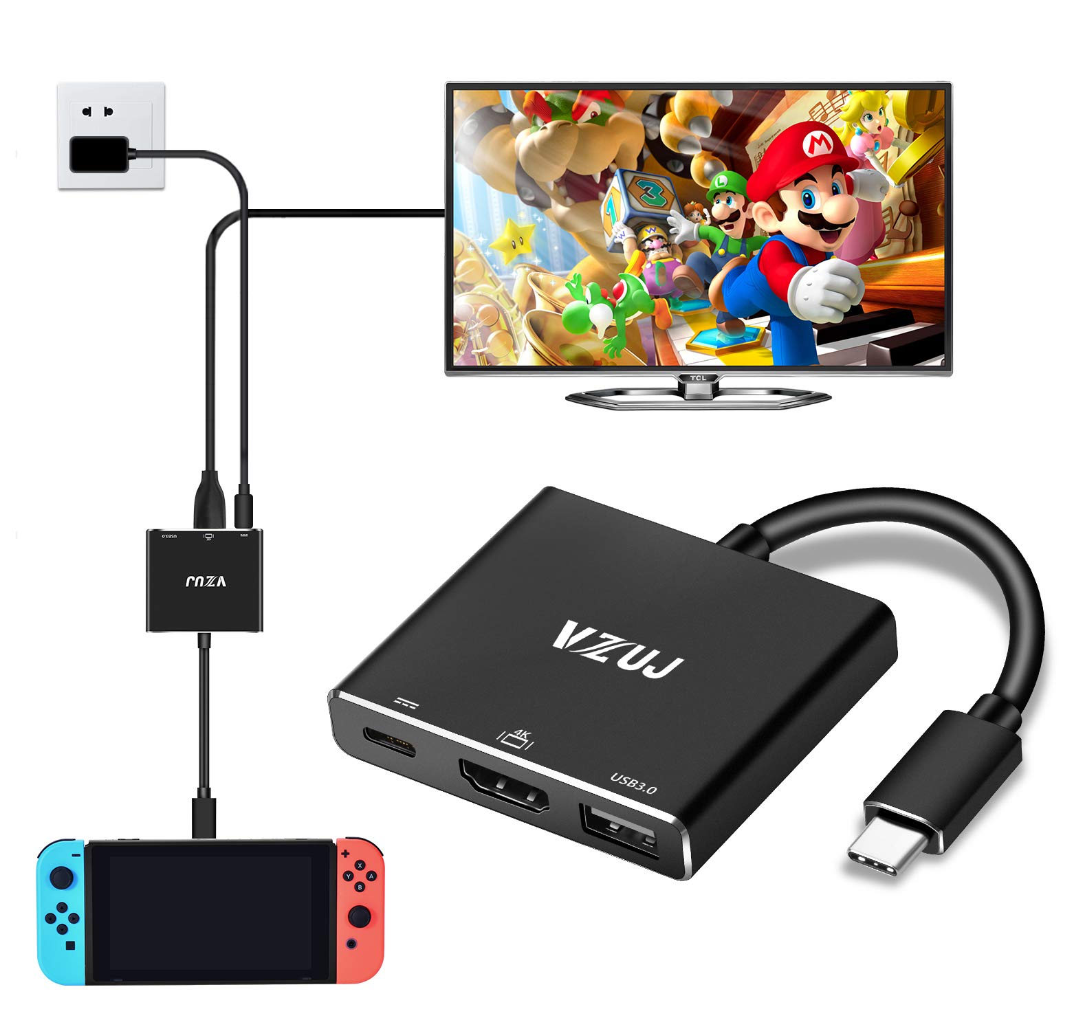 HDMI Type C Hub Adapter for Nintendo Switch,VZUJ USB C Multiport To HDMI Adapter with 4K UHD HDMI,USB A 3.0 and Fast Charging Port Compatible with MacBook Pro,Samsung Galaxy S9,S8/S8 Plus More,Black