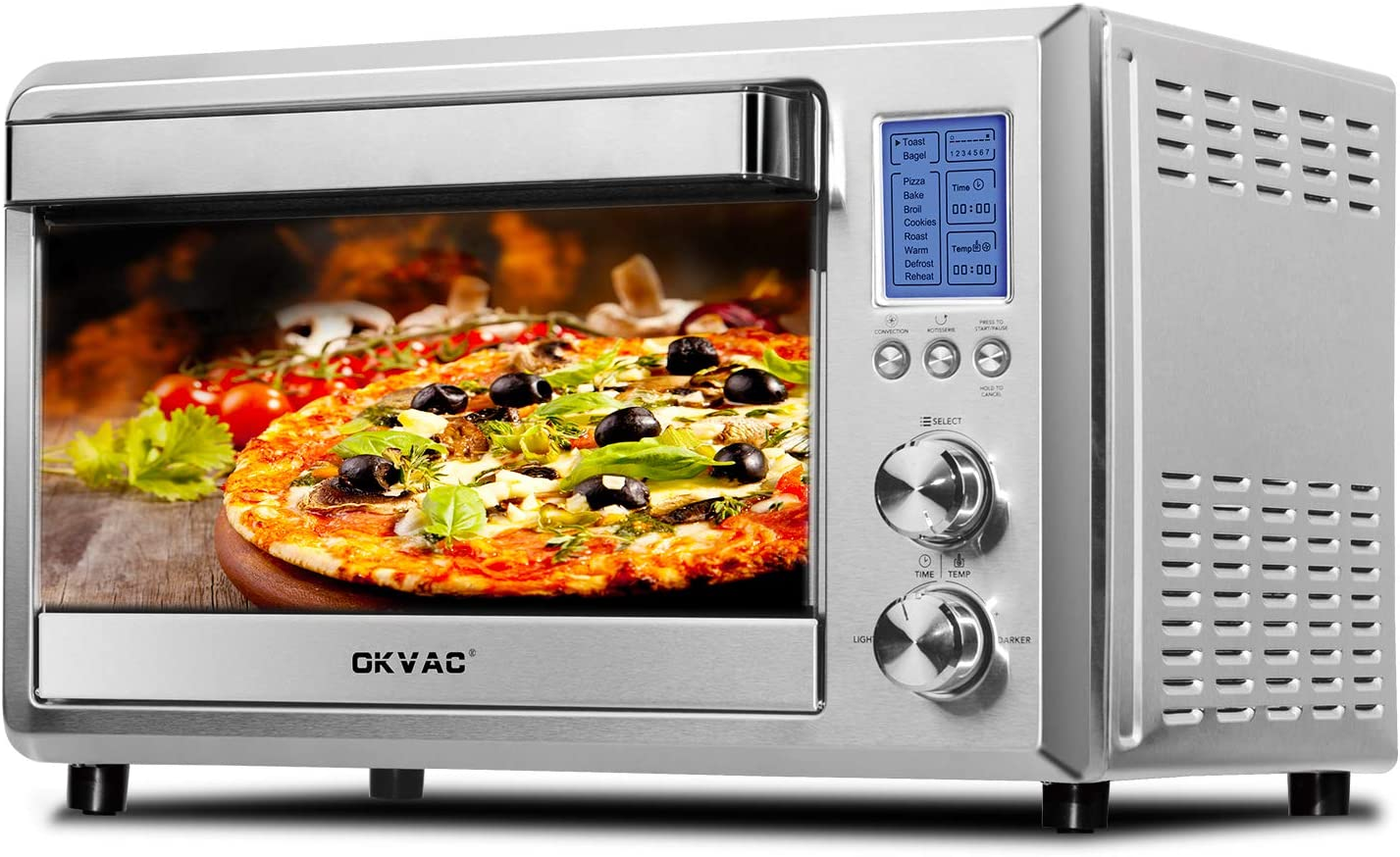OKVAC Toaster Oven Convection Toaster Oven with LCD Display and 4 Heating Elements IQ 1500W 9 Slice Toaster Oven with 10 Pre-set Cooking Functions Brushed Stainless Steel