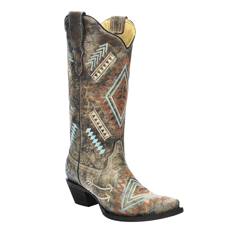 85e12bab52c Corral Women's Diamond and Arrow Black/Bone Cowboy Boots