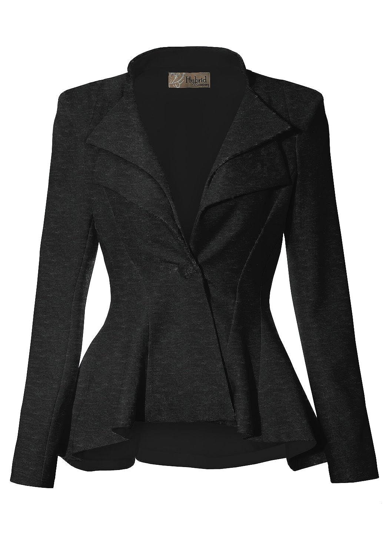 Charcoaldressy & Premium Weight Hybrid & Company Women Double Notch Lapel Sharp Shoulder Pad Office Blazer