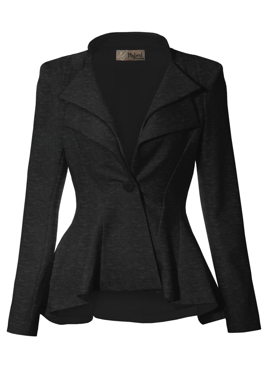 Women Double Notch Lapel Office Blazer JK43864 1073T Charcoal 2X