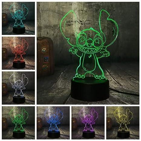 Dwqerwre Luz Nocturna 3D Cute Grimaces Face Stitch Led 7 ...
