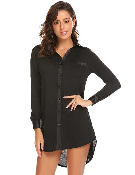256618fa32 Justrix Womens Long Sleeve Boyfriend Style Shirt Button Down Lapel ...