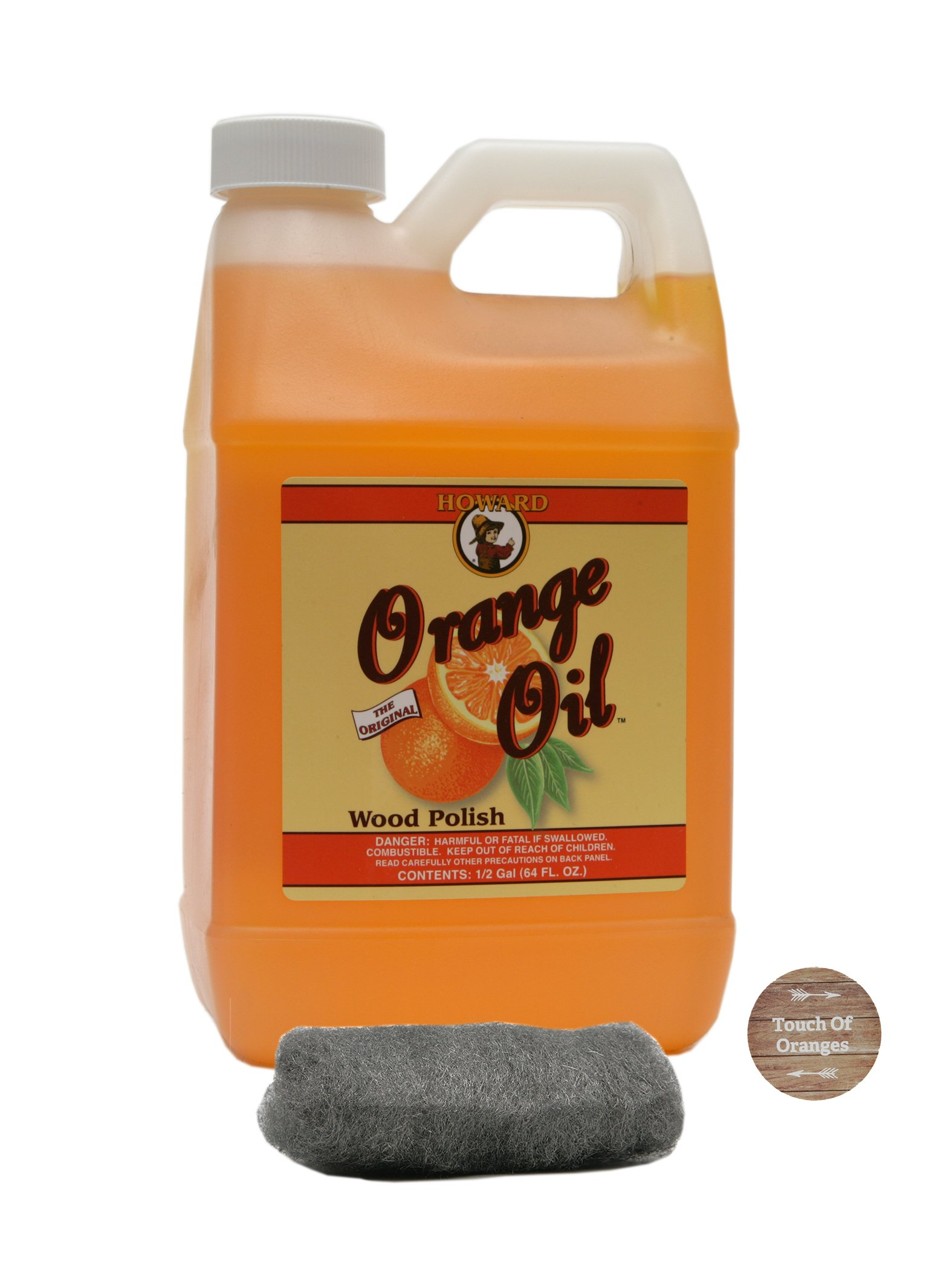 Howard Orange Oil 64 oz Half Gallon, Clean Kitchen Cabinets, Polish and Shine Wood Furniture, Orange Wood Cleaner by Howard Products
