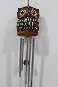 Handmade Owl Windchimes Outdoors – Owl Decorations for Home – Wood Handcrafted Design with High Attention to Details – Pleasant Musical Notes – Ideal for Garden, Patio, Home Decor