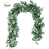 TOPHOUSE 2 Packs 6.5 Feet Artificial Silver Dollar Eucalyptus Leaves Garland with Willow Leaves for Greenery Garland Table Runner Garland