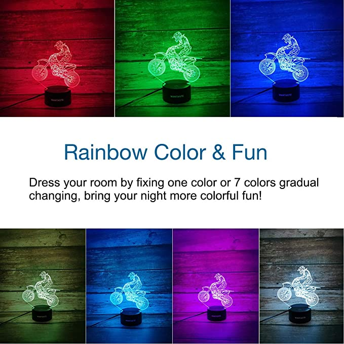 WANTASTE Motocross 3D Lamp Gifts for Boys Girls Room, Dirt Bike Decor Toys Night Light Bedside Gifts for Kids Baby Birthday, 7 Colors Changing ...