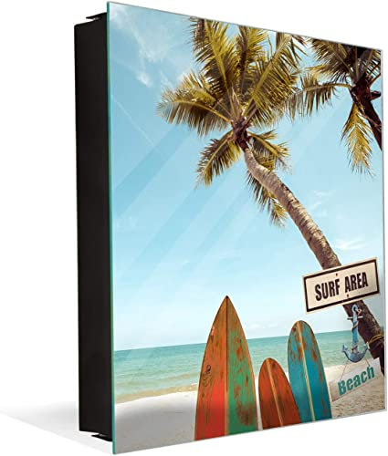 Tableau Avec Surface Magnetique Et Petite Armoire Pour Les Cles K03 Planche De Surf Avec Palmier Amazon Fr Cuisine Maison