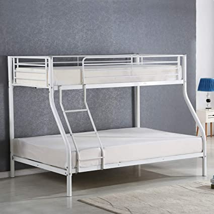 Costzon Twin Over Full Metal Bed Metal Bunk Bed Frame With Ladders White