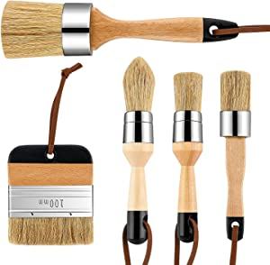 Chalk & Wax Paint Brush for Furniture - DIY Painting and Waxing Tool,Milk Paint,Stencils,Natural Bristles (5pcs)