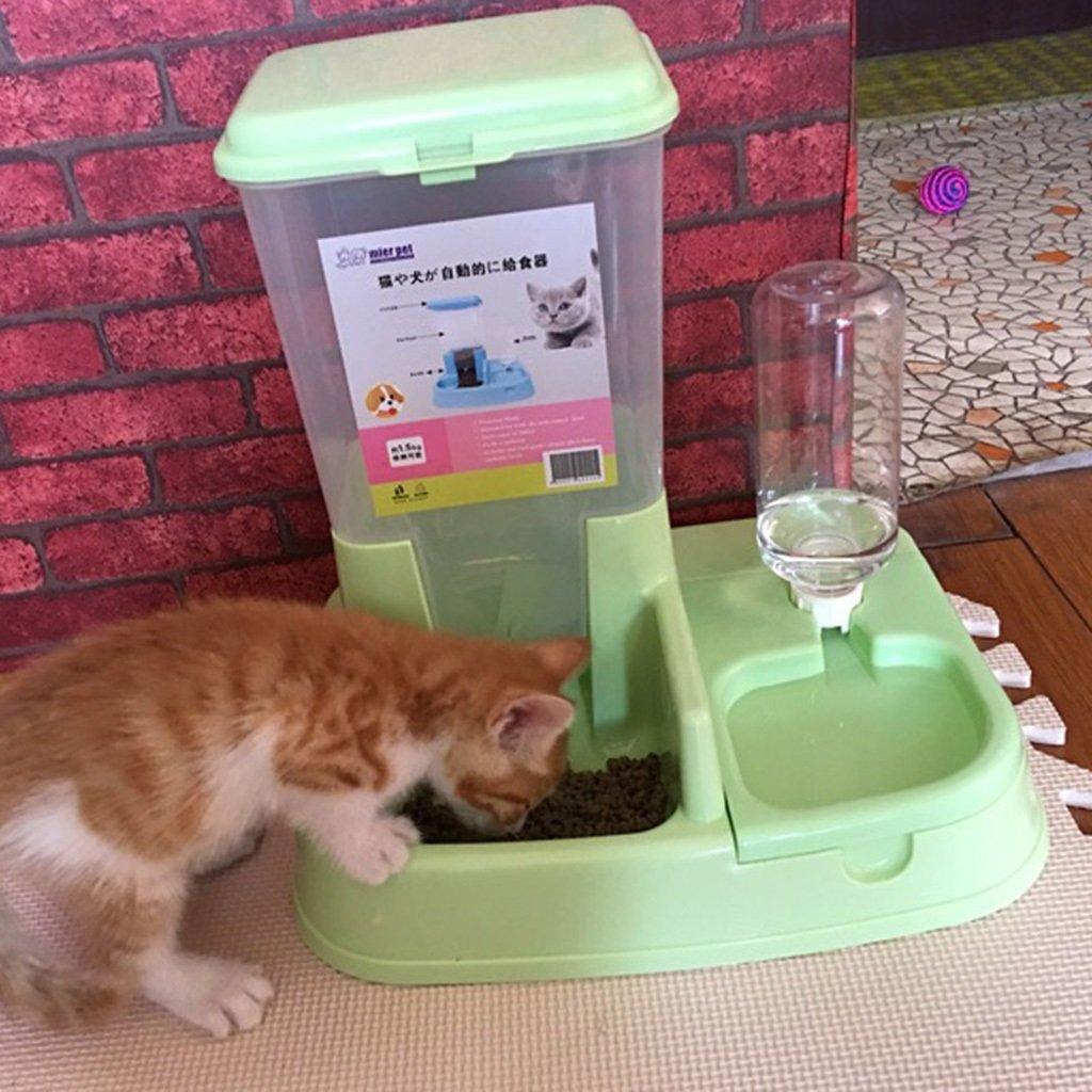 Dispensador automático del alimentador del animal doméstico Dispensador del agua del gato Cat Dog Kitty Supplies Cuenco doble del animal doméstico del ...
