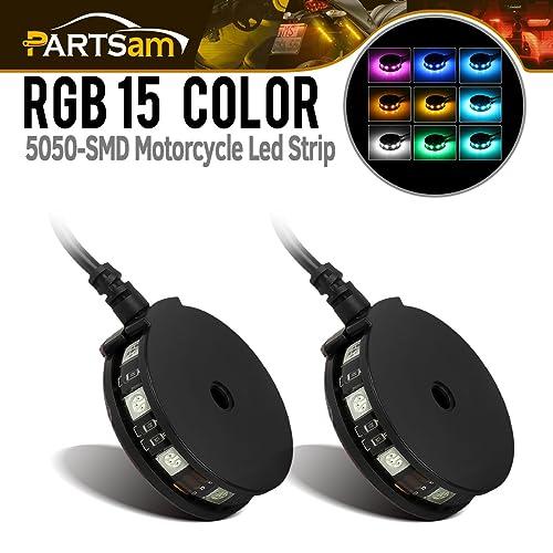 Partsam 2PCS 9-5050-SMD Motorcycle Wheel Pod Light RGB Atmosphere Lamp LED Light