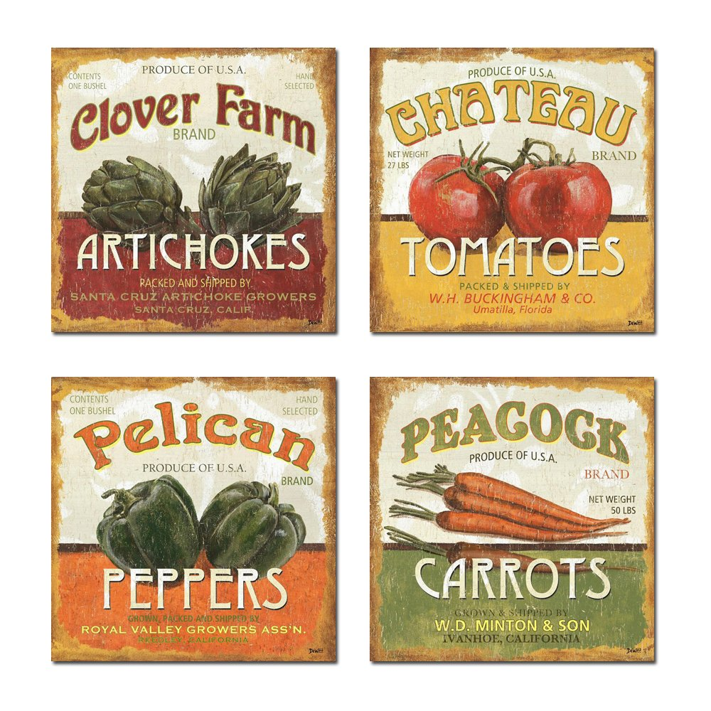 Spirit Up Art Retro Vegetables (Tomatoes, Peppers, Carrots, Artichokes) of Food Picture Painting on Canvas Print Stretched and Framed, Ready to Hang, Modern Home Decorations Wall Art Set of 4
