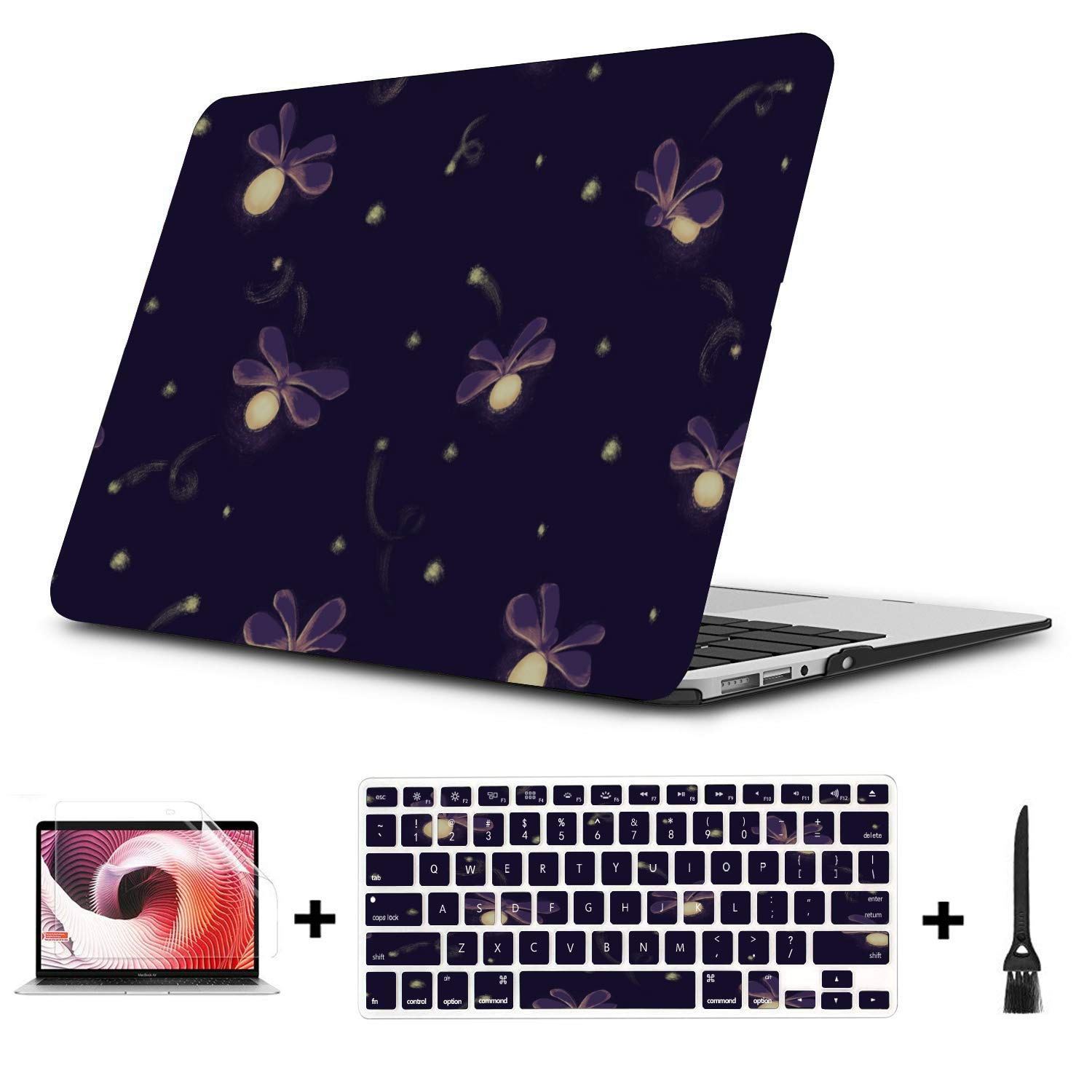 Mac Computer Case Shiny Night Romantic Insects Firefly Plastic Hard Shell Compatible Mac Air 11 Pro 13 15 Laptop Hard Case Protection for MacBook 2016-2019 Version