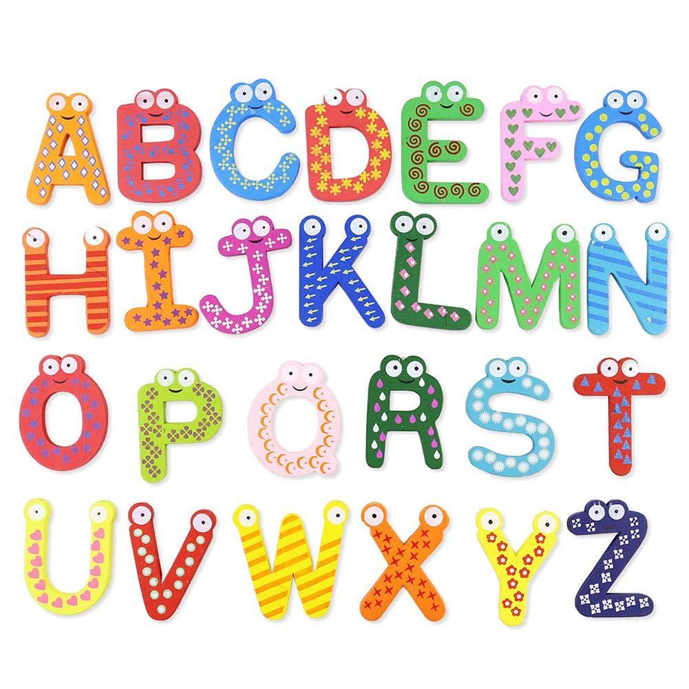 iStary Holz Magnet Buchstaben Kinderspielzeug Cartoon Magnet Buchstaben Alphabet Magnetischen Magnetisch Kinder Buchstaben Aus Holz Mit Anlautbildern Zum Schreiben Lernen, ABC Alphabet GI00086_TWiSS