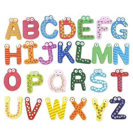 istary Madera magnético letras juguete para niños dibujos animados magnético letras Alfabeto imantadas Niños letras de