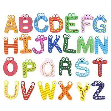 iStary Holz Magnet Buchstaben Kinderspielzeug Cartoon Magnet Buchstaben  Alphabet Magnetischen Magnetisch Kinder Buchstaben Aus Holz Mit  Anlautbildern ...