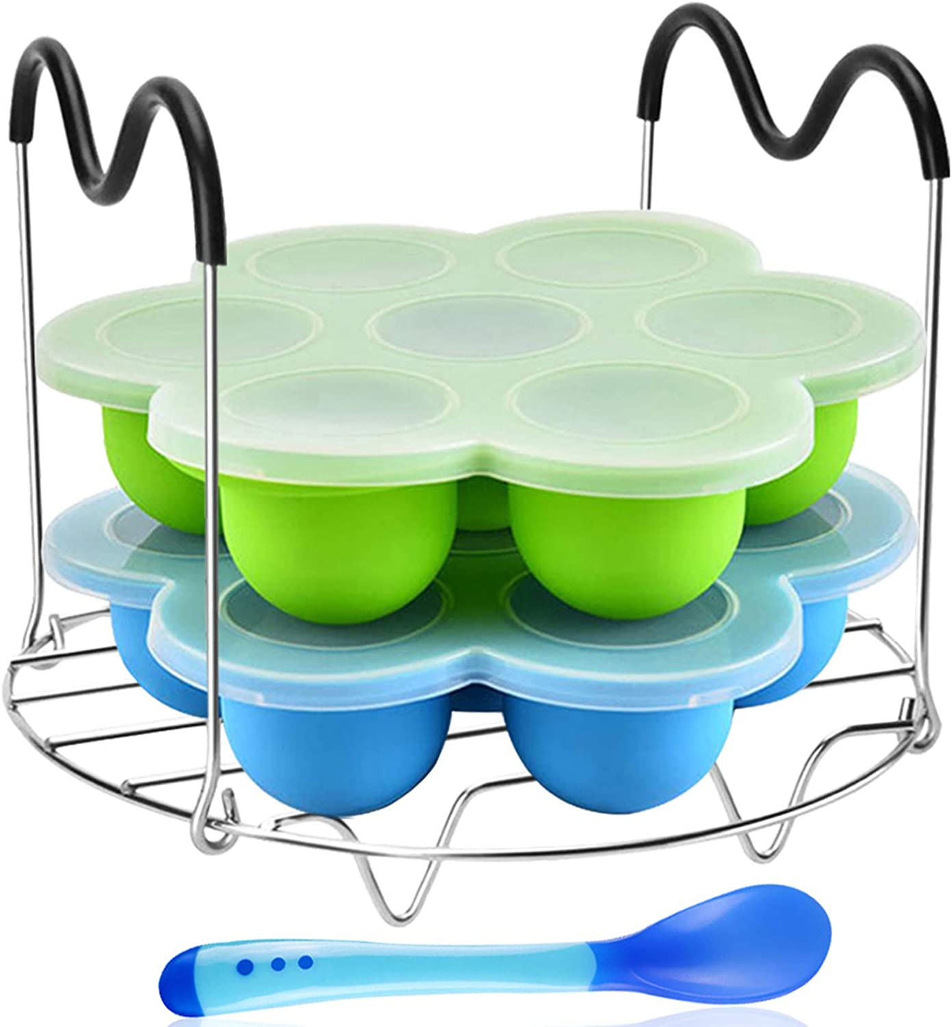 Silicone Egg Bites Mold Set of 4, Steamer Rack with Heat resistant Handle and Spoon,Reusable Sous Vide Egg Poacher with Lid Fits Instant Pot 5,6,8 qt Pressure Cooker