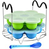 Silicone Egg Bites Mold Set of 4, Steamer Rack with Heat resistant Handle and Spoon,Reusable Sous Vide Egg Poacher with…