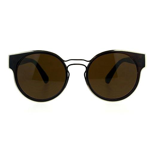eb11c05479 Womens Mod Round Horn Rim Designer Retro Plastic Sunglasses Brown