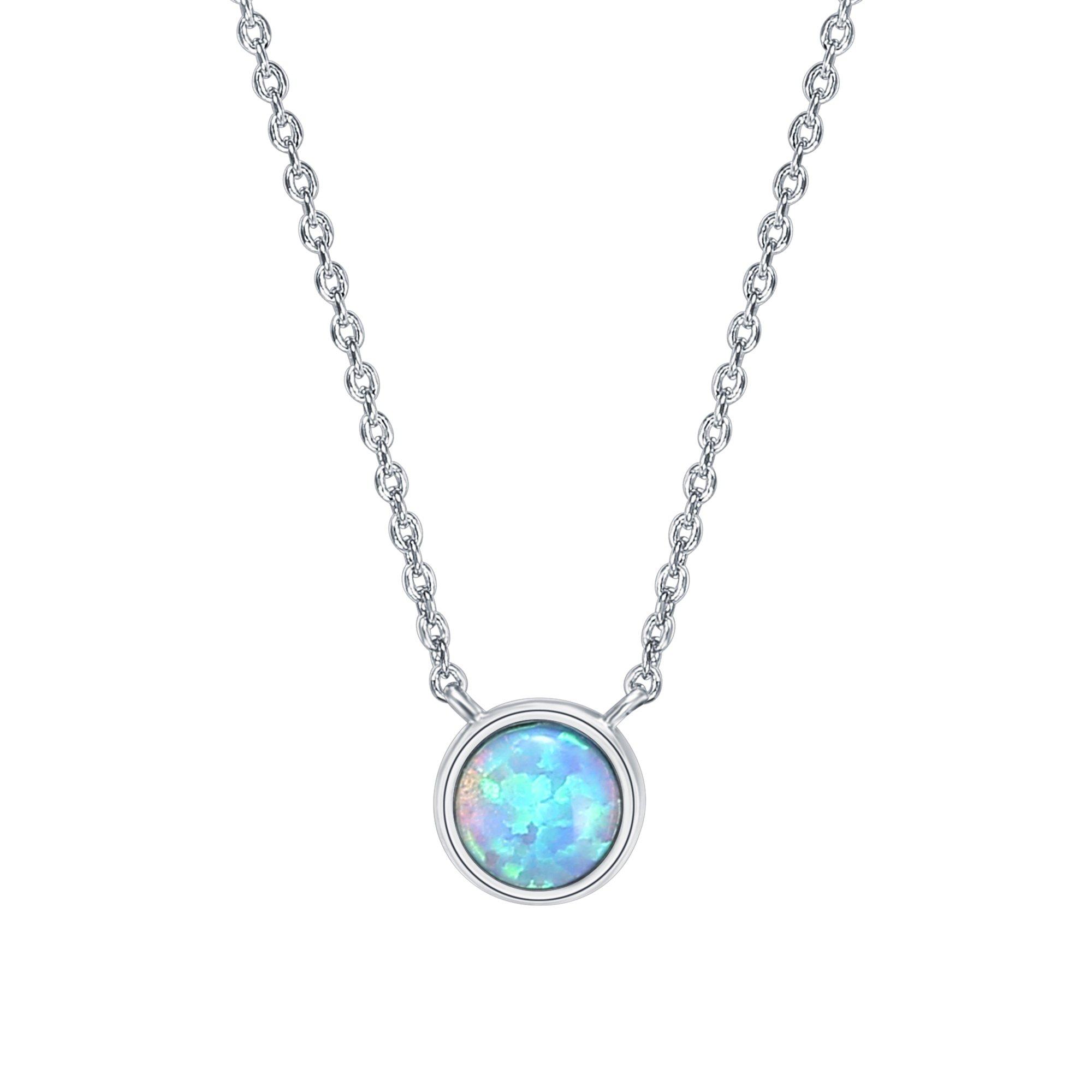 PAVOI 14K Gold Plated Round Bezel Set Blue Opal Necklace 16-18