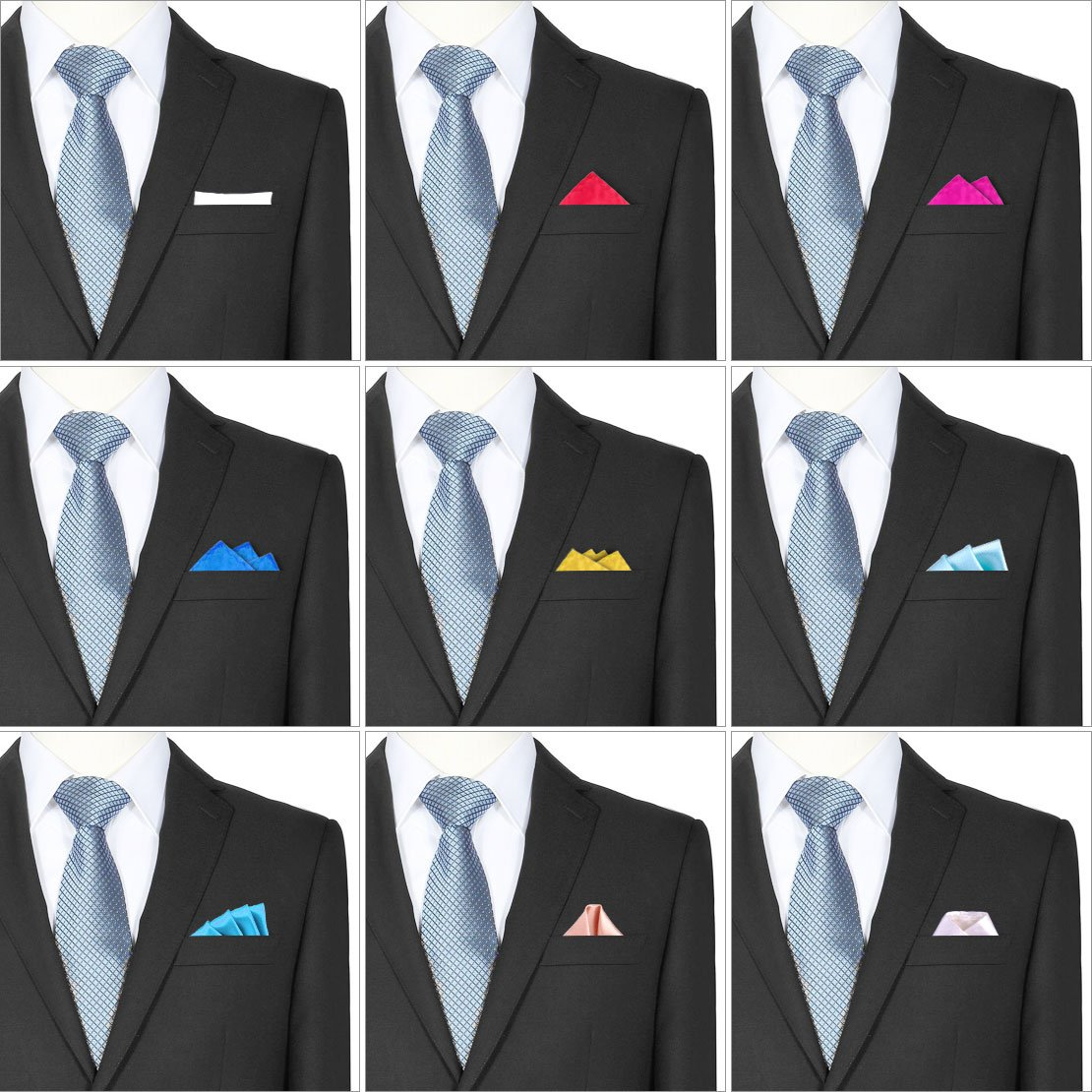 26 Pack Men's Silk Pocket Square Handkerchief Hanky Wedding Party Gift ciciTree by ciciTree (Image #7)