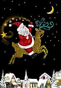 Toland Home Garden Santa Magic 28 x 40 Inch Decorative Christmas Holiday Reindeer Gold Star House Flag - 102515