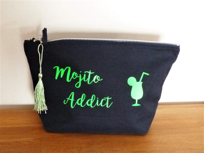 trousse MOJITO ADDICT pochette de sac/maquillage/clés marine et vert cocktail-cadeau copine maman