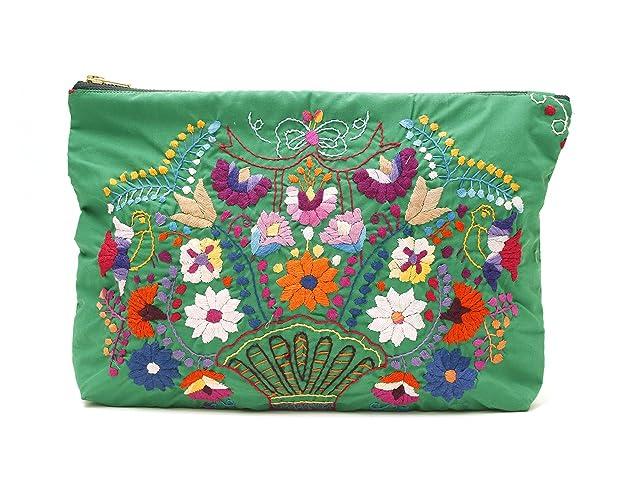 a2ceeaa01ba Amazon.com: Big Clutch - Hand Embroidery Floral Design Kelly Green Bag:  Handmade
