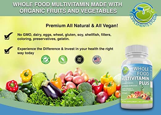 Amazon.com: Whole Food Multivitamin Plus - Vegan - Daily ...