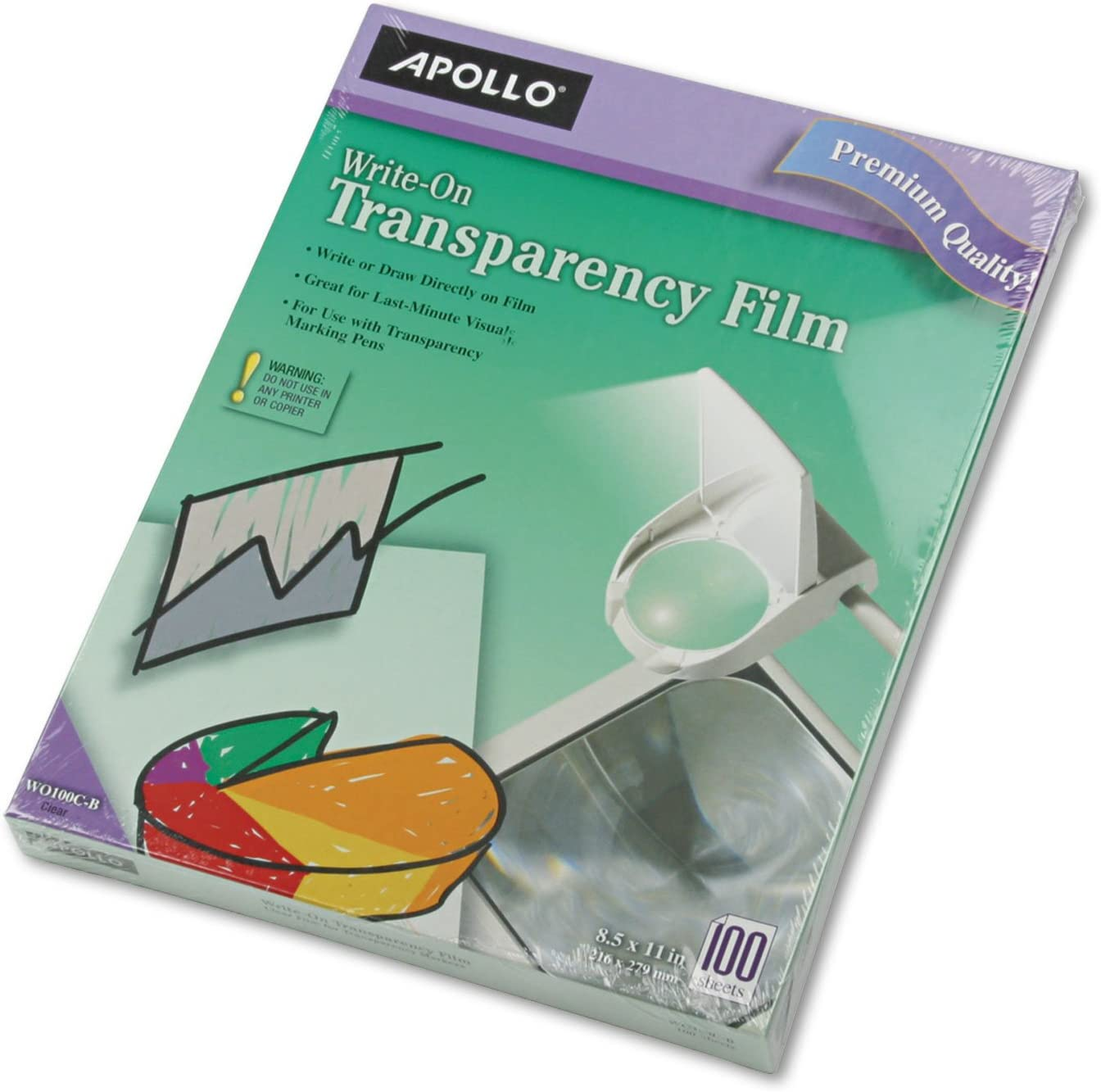 Apollo WO100CB Write on Transparency Film Clear 100//BX 8-1//2-Inch x11-Inch