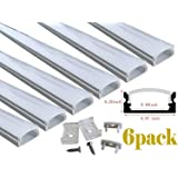 Muzata LED Aluminum Channel System with Cover, End Caps and Mounting Clips, Aluminum Profile For Strip Lights Diffuser Segments, 9x17mm,6-Pack 3.3ft/1Meter U Shape