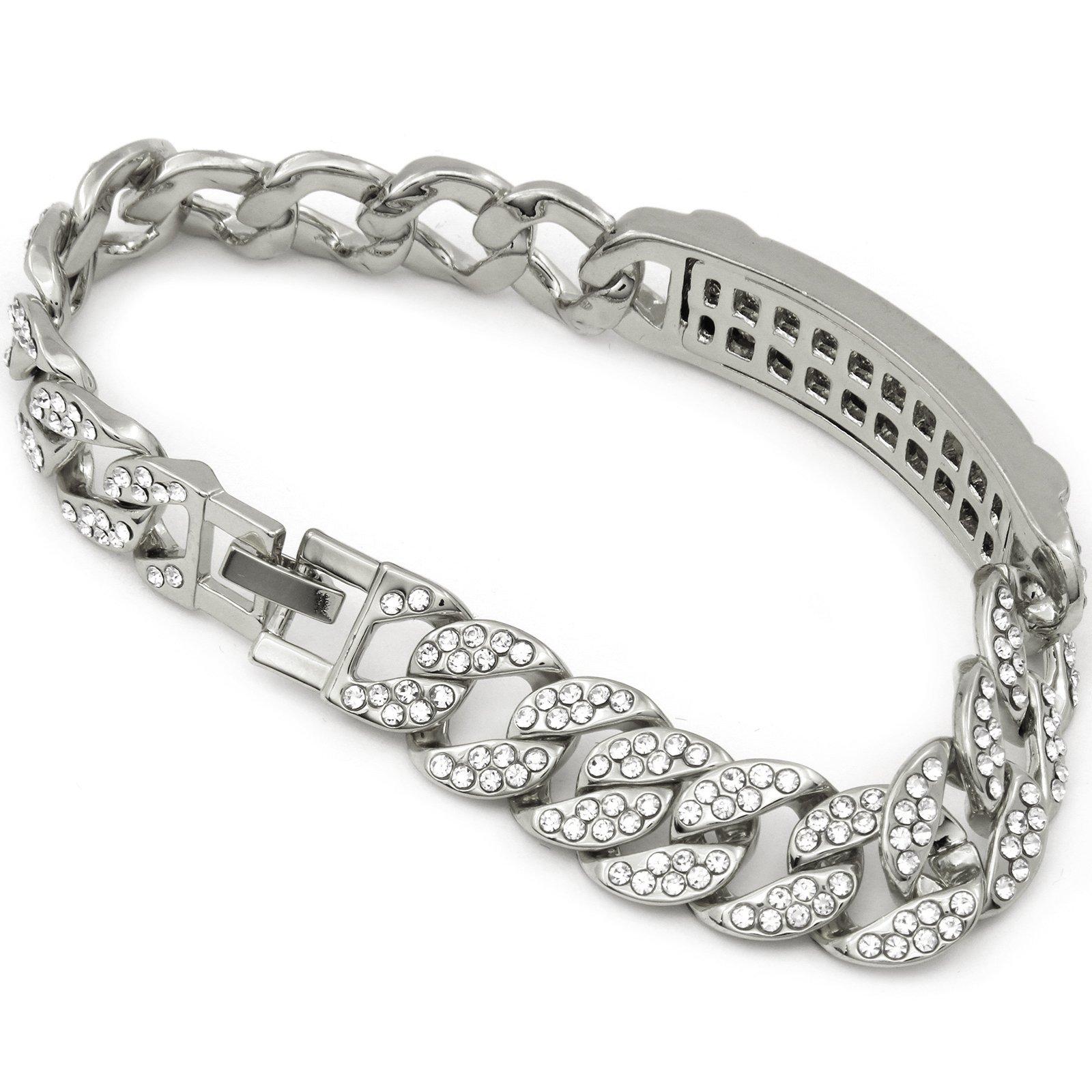 Men's Hip Hop Silver Tone Iced Out Cz 15mm 9'' Bracelet Miami Cuban Style Chain Link (s)