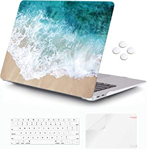 iCasso MacBook Air 13 Inch Case 2020 2019 2018 Release A2337 M1/A1932/A2179 with Retina Display Touch ID, Durable Hard Plastic Shell Case and Keyboard Cover Compatible MacBook Air 13 -Beach