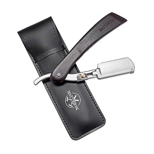 Nobelisk Cuchillo de Afeitar de Calidad con 10 Cuchillas | Set de Cuchillo de Afeitar con Estuche y Cuchillas de Recambio para Principiantes y ...