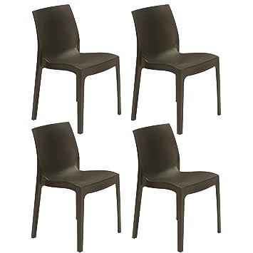 Pack 4 Stühle anthrazit matt Außen, Terrasse oder Garten ...