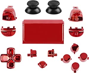 Jadebones Chrome Plating Buttons for PS4 Controller Gen 2, Action Home Share Options Buttons & D-pad & R1 L1 R2 L2 Trigger & Touchpad Full Set Buttons Repair Kits for PS4 Slim PS4 Pro Controller(Red)