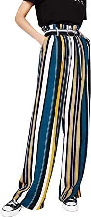 Primavera Verano Mujer Elegantes Pantalones De Cintura Alta Rayas Verticales Bolsillos Delanteros Con Cinturon Placket Clasico Especial Anchos Largos Pantalones Pantalones Pantalon Deporte Mujeres Amazon Es Ropa Y Accesorios