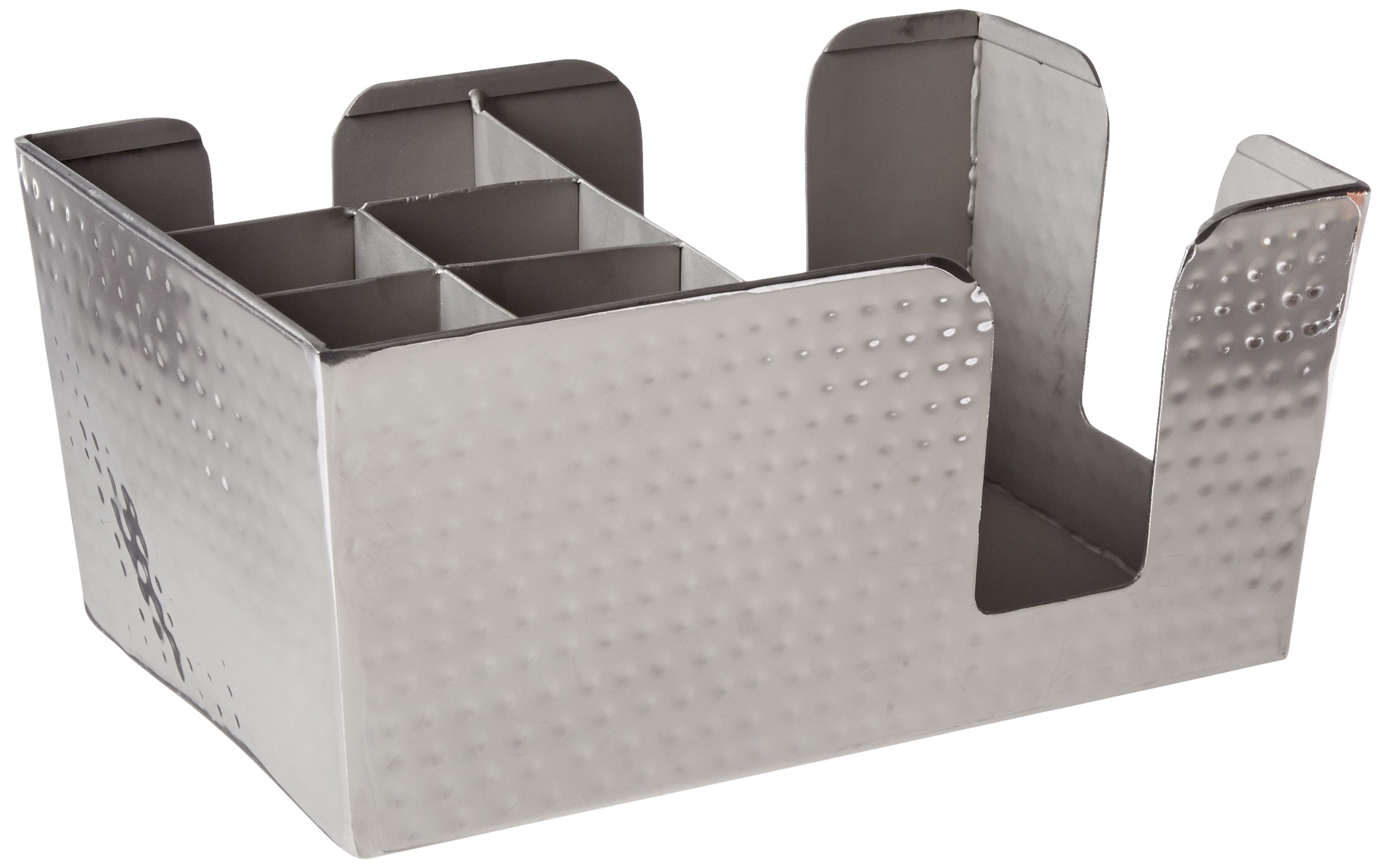American Metalcraft HMBAR8 Hammered Stainless Steel Bar Caddy with 6 Compartments, Silver by American Metalcraft (Image #1)