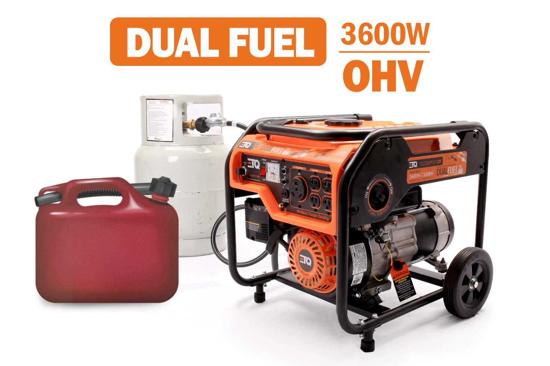 Etq TG32P31 3600W Portable Generator, Home Generator (TG32P31DF 3600W Dual Fuel Generator - Use Gas or LPG/Propane) by Etq