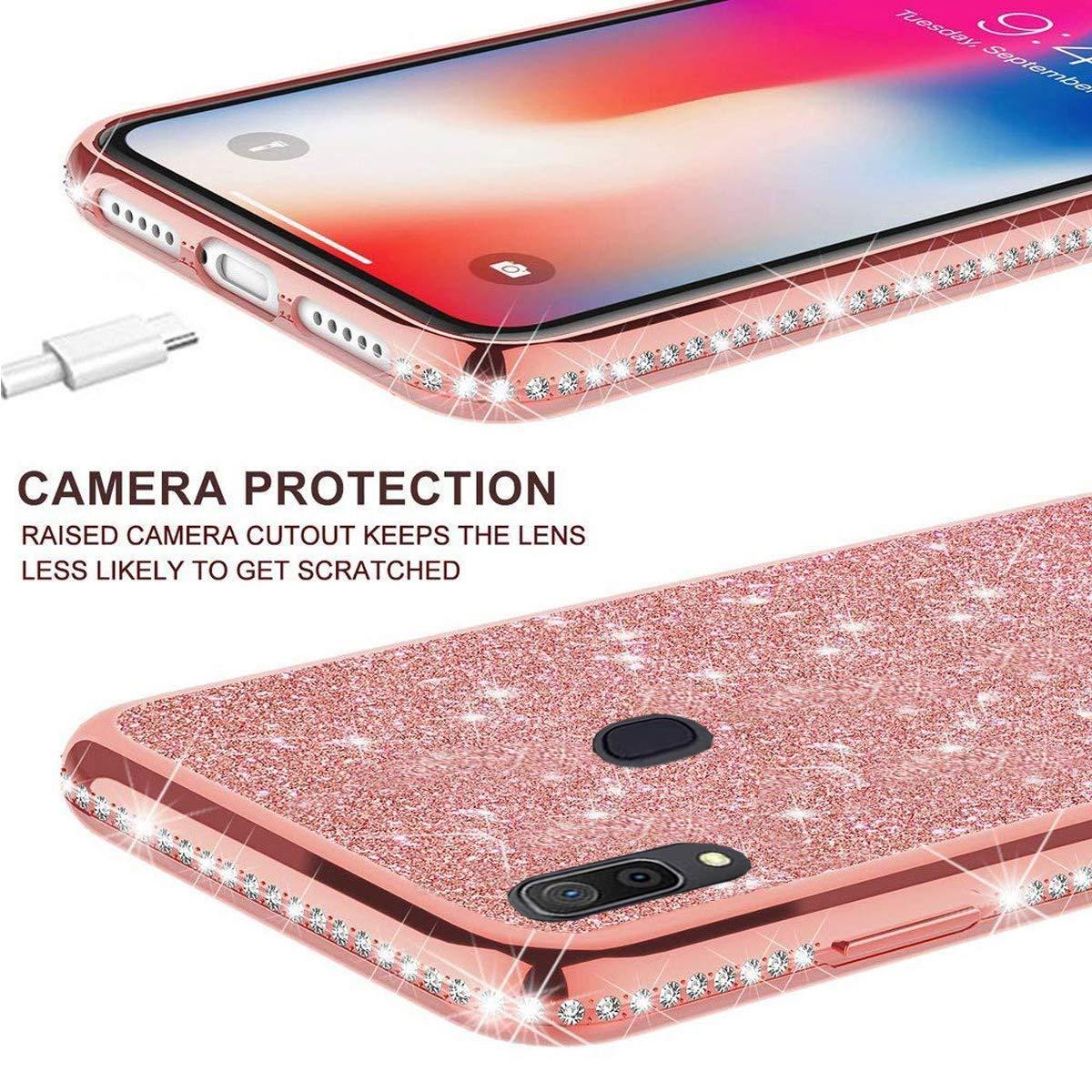 Karomenic kompatibel mit Samsung Galaxy A40 Silikon H/ülle Gl/änzend Bling Glitzer Schutzh/ülle Weiche TPU Handyh/ülle Diamant D/ünn Slim Bumper Tasche Case Cover f/ür Frauen M/ädchen,Schwarz