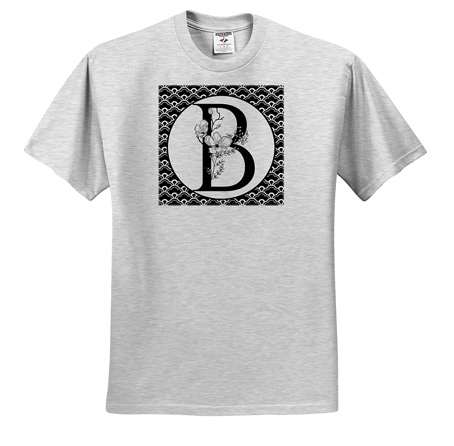 3dRose Anne Marie Baugh Adult T-Shirt XL Black and White Floral Monogram B On Fancy Scallops ts/_318029 Monograms