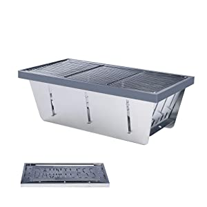 DAUNTLESS 304 Stainless Steel Food Grade Portable Charcoal Barbecue Grills, Foldable Grill Smoker Box for Outdoor Grill, Camping Grill and Backyard Grill