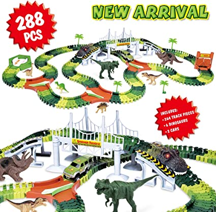 Dinosaur Game with Tracks and Car Inc 5x Dinosaurs Battery Car Trees and Track